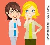 pretty blond and brunette women ...   Shutterstock .eps vector #73964242