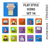 architect set icons in flat... | Shutterstock . vector #739643062
