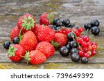 mix of  fresh fruit and berries ... | Shutterstock . vector #739649392