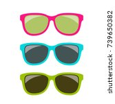 funky style colorful sun... | Shutterstock .eps vector #739650382