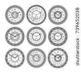 Vector Set Of Vintage Clocks....