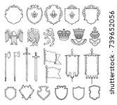 medieval heraldic symbols... | Shutterstock .eps vector #739652056
