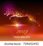 dog. happy new year 2018.... | Shutterstock .eps vector #739652452