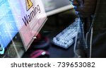computer with warning pop up... | Shutterstock . vector #739653082