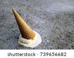 ice cream cone has dropped... | Shutterstock . vector #739656682