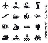 16 vector icon set   plane  car ... | Shutterstock .eps vector #739659352