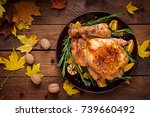 roasted turkey garnished with...   Shutterstock . vector #739660492