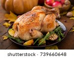 roasted turkey garnished with...   Shutterstock . vector #739660648