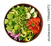 vegan salad of fresh vegetables ... | Shutterstock . vector #739660972
