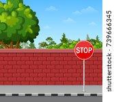 vector illustration of brick... | Shutterstock .eps vector #739666345