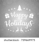 shiny christmas typography with ... | Shutterstock .eps vector #739669975