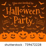 invitation for halloween party  ... | Shutterstock .eps vector #739672228