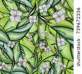 floral watercolor seamless... | Shutterstock . vector #739672336