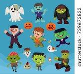 vintage halloween poster design ... | Shutterstock .eps vector #739672822