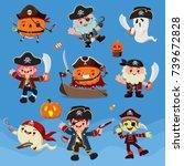 vintage halloween poster design ... | Shutterstock .eps vector #739672828