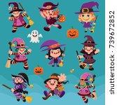 vintage halloween poster design ... | Shutterstock .eps vector #739672852