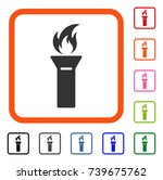 torch flame icon. flat gray...