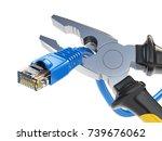 pliers cutting lan network... | Shutterstock . vector #739676062