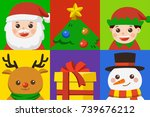 icon set of happy merry... | Shutterstock .eps vector #739676212