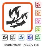firewood fire icon. flat gray...