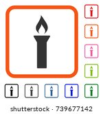 fire torch icon. flat gray...