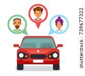 car sharing icon with flat... | Shutterstock .eps vector #739677322