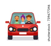 car sharing icon with flat... | Shutterstock .eps vector #739677346