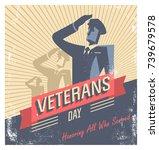 happy veterans day  american... | Shutterstock .eps vector #739679578