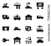 16 vector icon set   eco car ... | Shutterstock .eps vector #739682146
