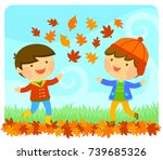 cute kids playing with autumn... | Shutterstock . vector #739685326