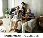happy japanese family | Shutterstock . vector #739688818