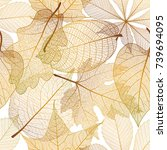 seamless pattern with autumn... | Shutterstock .eps vector #739694095