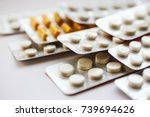 different medicines  tablets ... | Shutterstock . vector #739694626