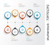 board icons set. collection of... | Shutterstock .eps vector #739701292