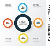 auto colorful outline icons set.... | Shutterstock .eps vector #739706632