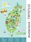 taiwan travel concept map ... | Shutterstock .eps vector #739707112
