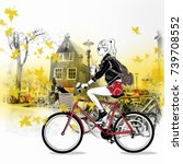 fashion girl by bicycle on the... | Shutterstock . vector #739708552