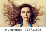 fashion model wind in waving... | Shutterstock . vector #739711906