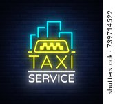 vector neon taxi logo isolated... | Shutterstock .eps vector #739714522