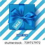 decorative blue gift box with... | Shutterstock .eps vector #739717972