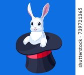 bunny in the hat. flat cartoon... | Shutterstock .eps vector #739721365