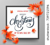 christmas sale banner with... | Shutterstock .eps vector #739721596