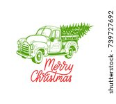 merry christmas lettering on... | Shutterstock .eps vector #739727692