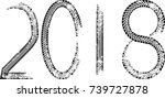 tire tracks . new year 2018.... | Shutterstock .eps vector #739727878