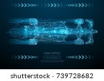 low poly wireframe f1 bolid car.... | Shutterstock .eps vector #739728682