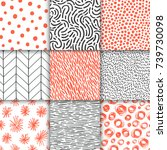 abstract hand drawn geometric... | Shutterstock .eps vector #739730098