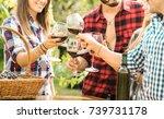 young friends having fun... | Shutterstock . vector #739731178