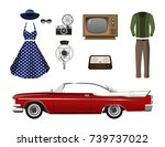 retro things. set of vintage... | Shutterstock .eps vector #739737022
