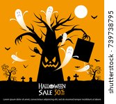 halloween sale offer design... | Shutterstock .eps vector #739738795
