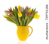 bouquet mixed colored tulips in ... | Shutterstock . vector #739741186